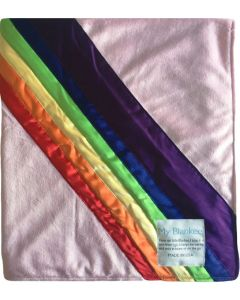 Rainbow Blanket  Pink Minky Baby Blanket